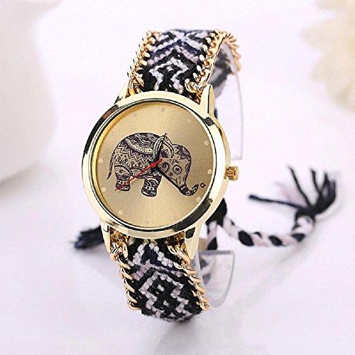 IEason,Elephant Pattern Weaved Rope Band Bracelet Quartz Dial Watch - Guess Sale On