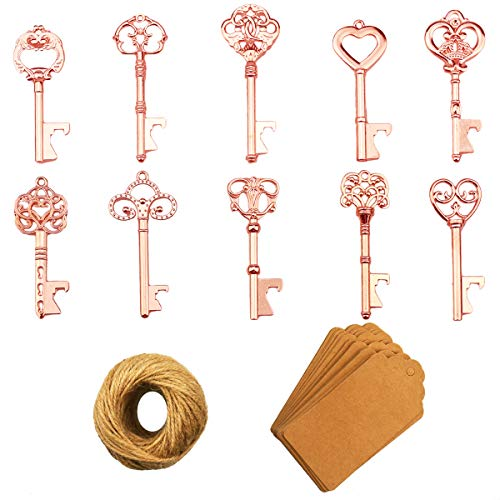 Key Bottle Openers – 50Pcs Vintage Skeleton Key Bottle Opener with Kraft Paper Gift Tags and Twine for Wedding Favors Antique Rustic Party Decoration (10 Styles, Rose Gold)