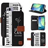 Galaxy S8 Case, Trishield Gear Dual Layer Black Synthetic Leather Magnetic Closure Flip Wallet Cover With Kickstand Wrist Strap - Piano Keyboard - Jazz