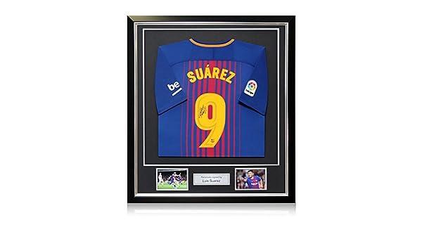 Exclusive Memorabilia - Camiseta de fútbol firmada por Luis Suarez en Marco de Lujo, Barcelona 2017-18: Amazon.es: Deportes y aire libre