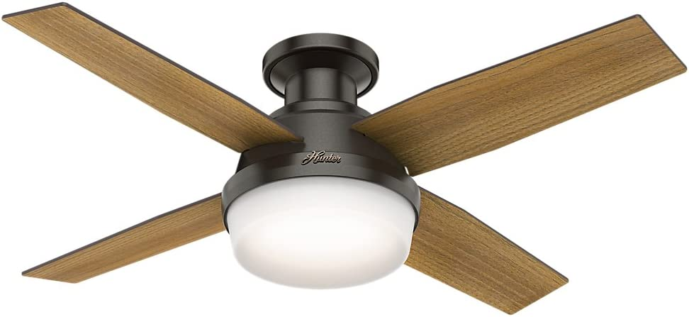 Hunter 59445 Dempsey Low Profile with Light 44 Ceiling Fan Handheld Remote, Small, Noble Bronze