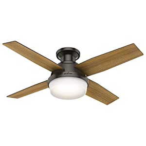 """Hunter 59445 Dempsey Low Profile with Light 44"""" Ceiling Fan Handheld Remote, Small, Noble Bronze"""