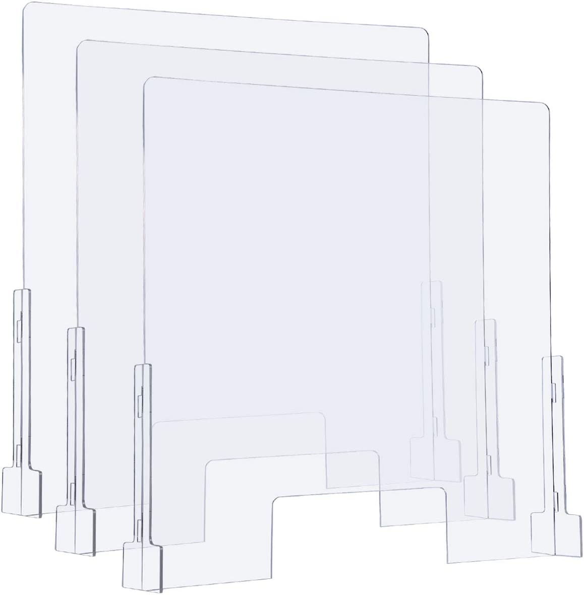 "(3 Packs) Sumerflos Clear Acrylic Sneeze Guard, 31"" x 31"" Protective Plexiglass Shield Barrier for Counter, Cashier, Workers, Reception Desk, Offices, Banks"
