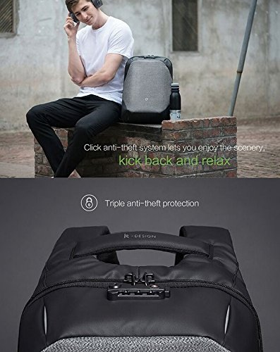 Korin Design ClickPack Pro - Anti-theft BackPack Laptop Bag with USB charging port large capacity waterproof TSA travel friendly Black and Grey by Korin Design (Image #5)