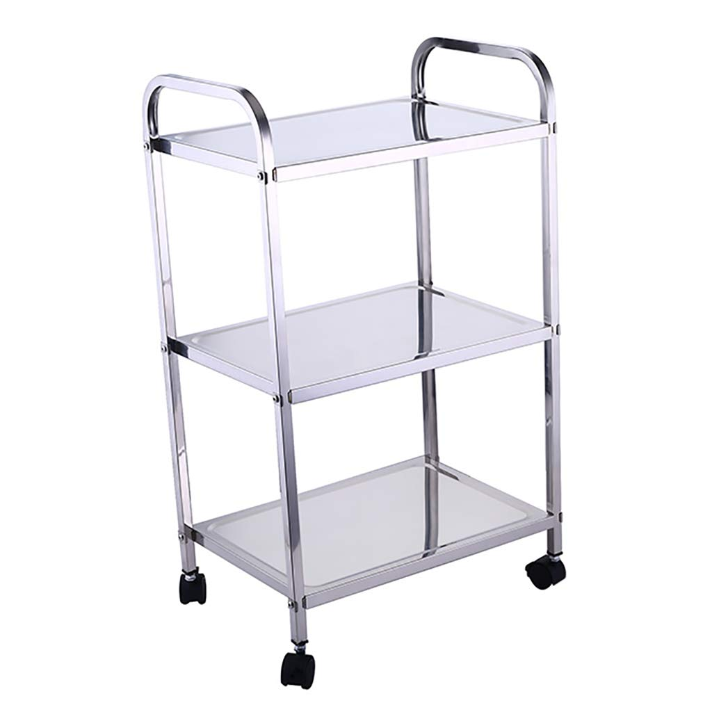 463279cm 3-Tier Utility Serving Trolley Metal Tea Drink Liquor Cart Rolling Storage Shelves Kitchen Bathroom Home Restaurant Bar Island Cart (2 Styles)