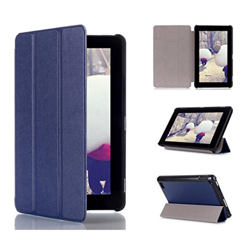 Price comparison product image Amazon Kindle Fire 7inch 2015 Case,Sunfei Tri-Fold Leather Stand Case Cover for Amazon Kindle Fire 7inch 2015 (Deep Blue)