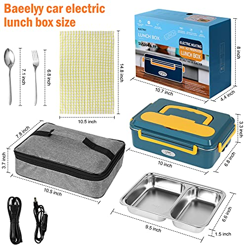 Electric lunch box for car and home (Upgrade. Fast heating) 3 in 1 dual power supply 2V 24V 110V Portable Food warmer 1.5L large capacity removable stainless steel Heating lunch box