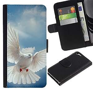 KingStore / Leather Etui en cuir / Apple Iphone 5 / 5S / Pájaro Paloma Alas Flying Sky Dios Esperanza