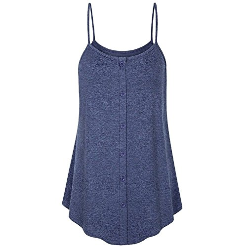 Sunmoot Clearance Sale Cami Tank Tops for Women Flowy Plus Size Casual Sexy Sleeveless Spaghetti Strappy Pleated Vest Button Blouse T-Shirt]()