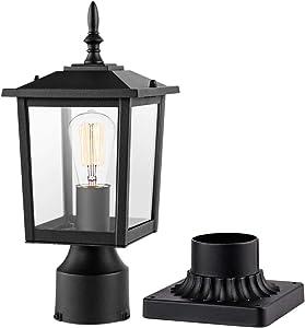 CINOTON Outdoor Post Light Fixtures, Modern 1- Light Exterior Post Lantern with 3-Inch Pier Mount Base Aluminum Housing Plus Clear Glass Waterproof Patio Pole Lights