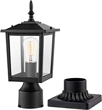 CINOTON Outdoor Post Light Fixtures, Modern 1- Light Exterior Post Lantern with 3-Inch Pier Mount Base Aluminum Housing Plus Clear Glass Waterproof Patio Pole Lights