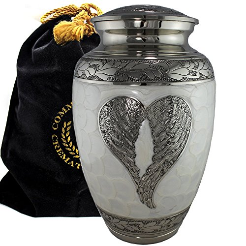 - Loving Angel Wings Silver and White Burial or Funeral Adult Cremation Urn for Human Ashes - Large, Adult