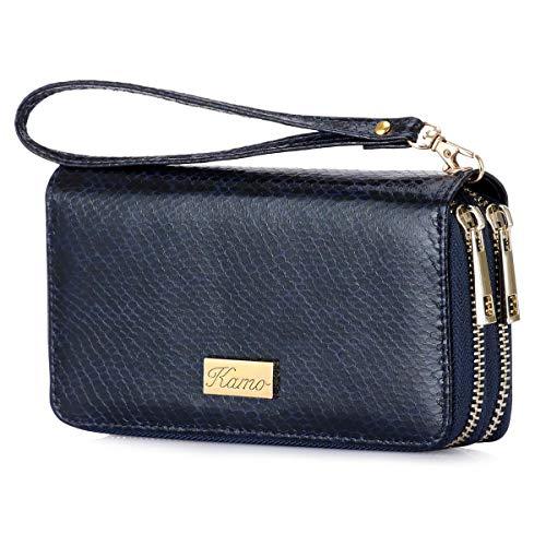 KAMO Wallet for Women Zip Around Phone Wallet Wristlet Travel Long Purse for Women Lady Girl 6.9×3.5(Double Zipper)
