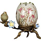 Home decor. Egg Shell with Bronze Nest and Bird. Dimension: 6 x 4 x 5.25. Pattern: Willow Bird.