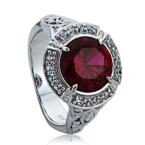 Double Accent Sterling Silver Art Deco Design 2.5ct Simulated Ruby CZ Cocktail Ring (Size 5 to 9), 8
