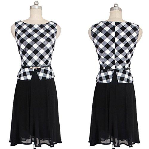... Babyonlinedress Damen A-Linie Kleid Gr. S, White Grid ...