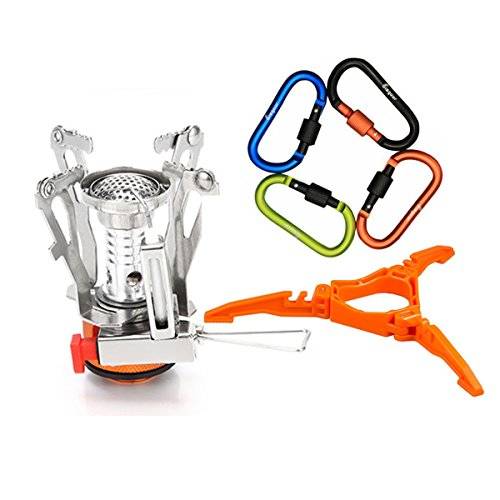 6Pcs Backpacking Cooking System - Bisgear Ultralight Portable Outdoor Camping Stove with Piezo Ignition + Foldable Cooking Gas Tank Stand Cartridge Canister Tripod & 4 Carabiners (Orange) (Canister Propane Stand)