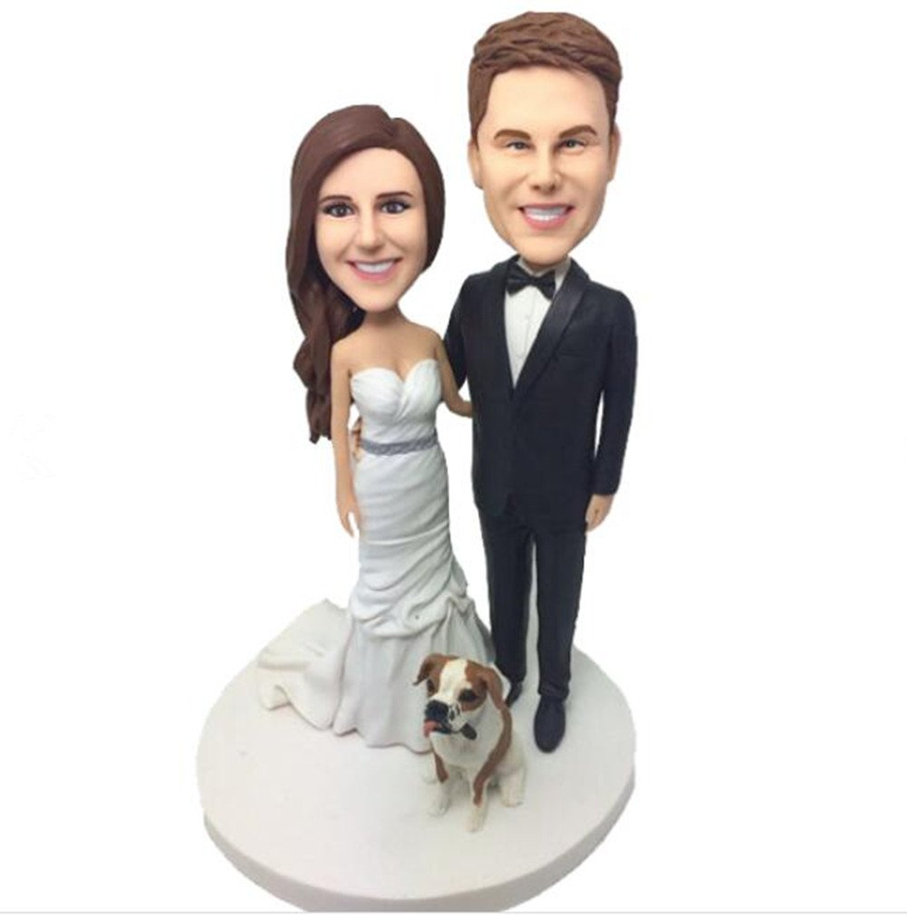 Custom Couple and Dog Wedding Bobbleheads Polymer Clay Bobbleheads Cake Toppers