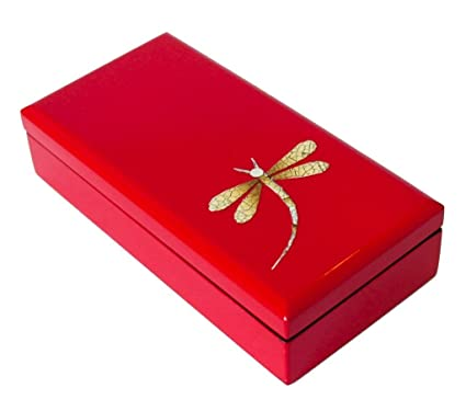 "c6f0bfbeb Image Unavailable. Image not available for. Color: Medium 7"" Long  Handmade rectangular Red Asian Lacquerware Jewelry Keepsake Box with dragonfly  design ..."