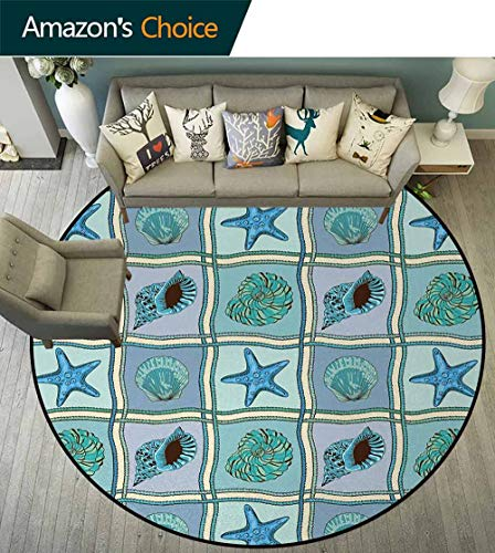- Starfish Modern Machine Washable Round Bath Mat,Marine Patchwork Style Inspired Pattern with Ropes Starfishes and Seashells Print Non-Slip Soft Floor Mat Home Decor Round-63 Inch,Multicolor