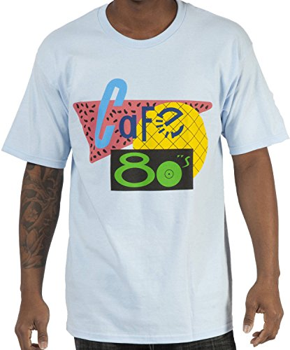 80sTees.com Men's Back to the Future II Cafe 80s Shirt Light Blue Large