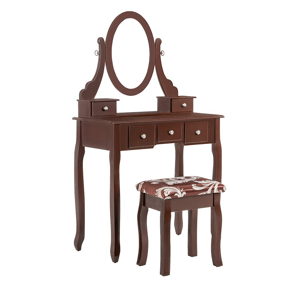 PaPaJet VanityTableSet Makeup Tables Dressing Vanity Table withLarge Mirror and Cushioned Stool 5 Drawers, Brown