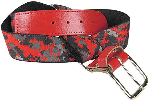 TCK Sports Digital Camo Elastic Adjustable Baseball/Softball Belt, Scarlet, Adult (Belt Elastic Scarlet)