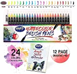 Instant Watercolor Brush Pens Set - 24 Colors For Watercolor Painting w/Blending Pen & Drawing Pad - for Adult and Kids Coloring Drawing Calligraphy Writing Sfumato Ombre - Great On Regular Papers