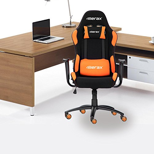 Merax Reclining Fabric Racing Office Chair Computer Gaming Chair Orange G