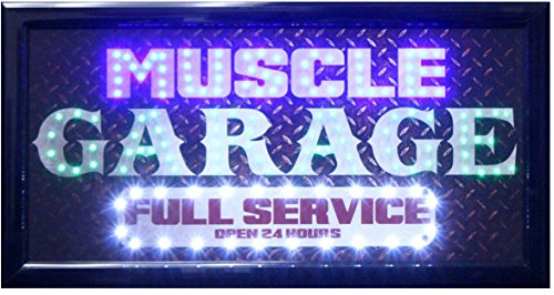 Crystal Art Muscle Garage Full Service Open 24 Hours LED Signs