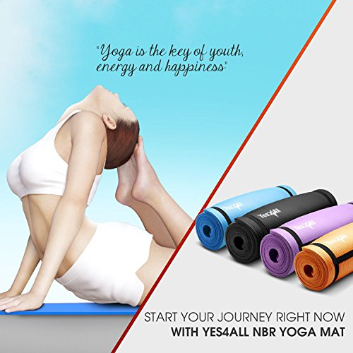 Yes4All 1/2 inch Extra Thick & 72 inch Long NBR Yoga Mat with Carrying Strap – Multi Color Available