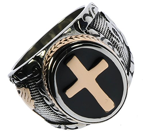 Praying Hands Two Tone Men's Stainless Steel Cross Ring Size 12
