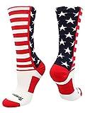 MadSportsStuff USA American Flag Stars Stripes Crew Socks (Navy/Red/White, Small)