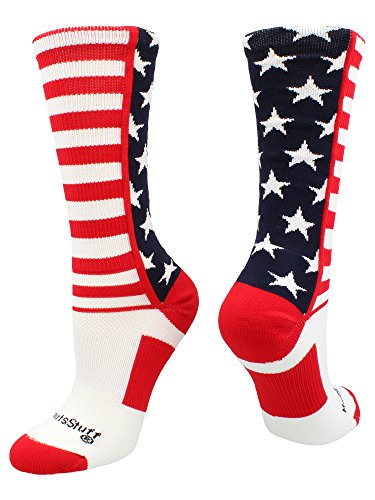 MadSportsStuff USA American Flag Stars and Stripes Crew Socks (Navy/Red/White, Medium)