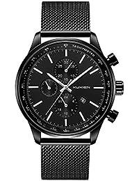Men's Watches KUXIEN Men's Analog Quartz Watch Waterproof Date Slim Men wristwatch Stainless Steel Mesh Band