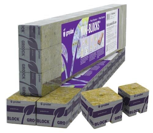 Grodan 1.5in Starter Mini-Blocks MM40/40 1.5in x 1.5in x 1.5in - One strip of 15 mini blocks 3 strips