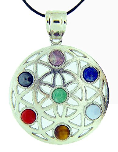 Circular Pewter Necklace (Pewter Circular Mandella Amulet with Chakra Gemstone Accents Pendant Necklace Jewelry Hindu)
