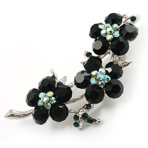 Broche florale cristal Swarovski (argent et vert émeraude)