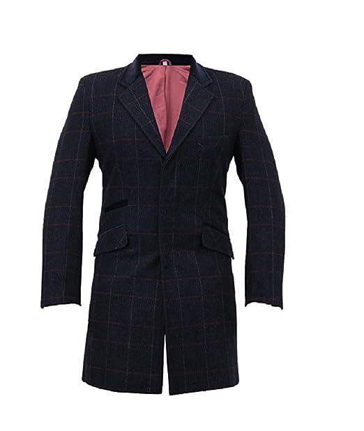 Abrigo para hombres slim fit de Herringbone, elaborada a base de lana y con cuadros de tweed.: Amazon.es: Ropa y accesorios