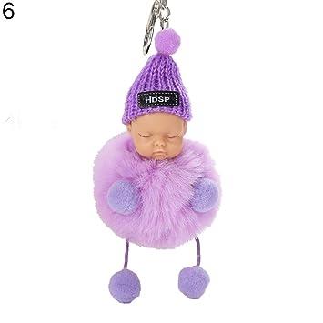 MAJGLGE - Llavero con pompón para bebé Dormido, Color Morado ...