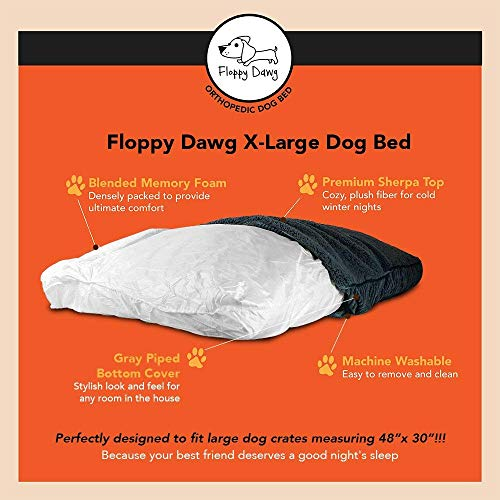 Floppy Dawg Super Extra Large Dog Bed with Removable Cover and Waterproof Liner. Made for Big Dogs up to 100 pounds and More. Jumbo Size 48 x 30 and Stuffed 6 Inches High with Memory Foam Pieces. by Floppy Dawg (Image #3)