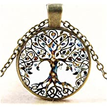 CHRWANG 1pc Vintage Ladies' Necklace the Tree of Life Glass Gem Pendant Long Chain Blessing Necklaces