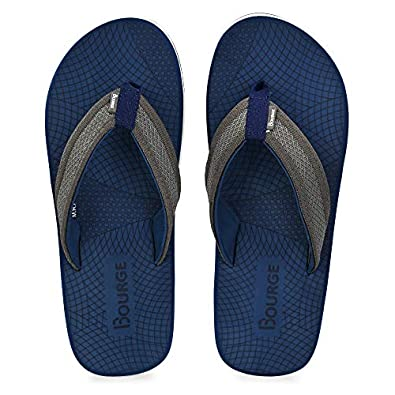 Bourge Men's Canton-55 Navy and Grey Flip Flops-8 UK (42 EU) (9 US) (Canton-55-08)