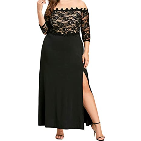 406c8ca1afa1 4X-Large, Black: Behkiuoda Women Plus Size Christmas Dress Long Bridesmaid  Dress Slash-Neck Evening Party Prom Long Dress: Amazon.in: Health &  Personal Care