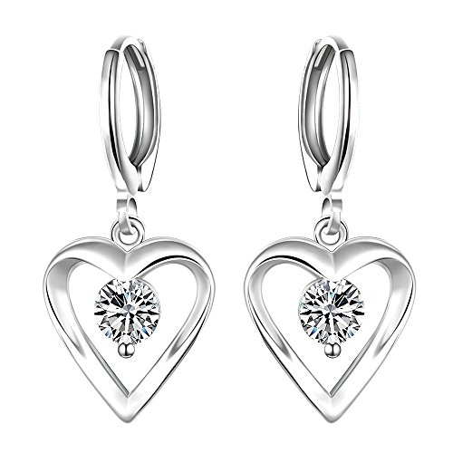 Prime Deal (Prime Deals of The Day 2017 Sterling Silver Plated Leverback Earrings Zircon in Hollow-out Heart Shape Romantic Women Fashion Jewelries)