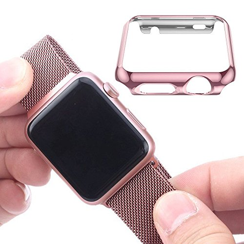 Apple Watch 42mm Tempered Glass SCREEN PROTECTOR CASE,2win2buy Ultra Thin 9H Hardness [Full Coverage] Electroplate Screen Protector with Metal Bumper ROSEGOLD Photo #6