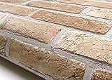 ROSEROSA Peel & Stick Rust Brick Pattern Backsplash Slate Stone Concrete Contact Paper Self-Adhesive Wallpaper Shelf Liner Table and Door Reform (GM726 : 2.00 Feet X 6.56 Feet)
