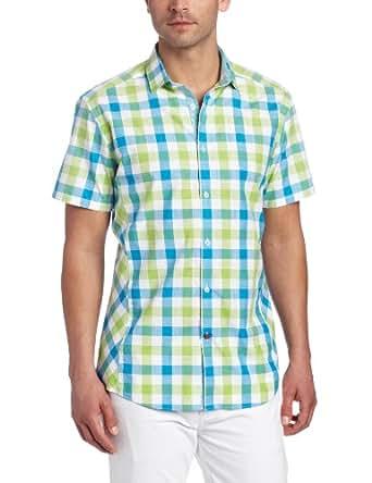 Stone Rose Men's Check Woven Shirt, Green/Blue,2/Small