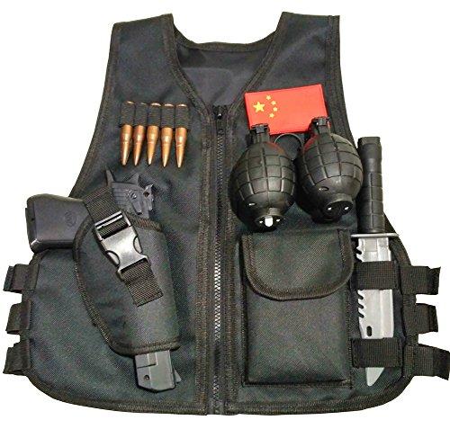 GSKids Tactical Vest Children's Adjustable Military Fans Clothing (Small, Black)