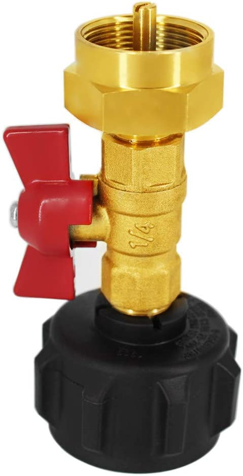 MCAMPAS QCC1 Propane Refill Pressure Adapter Coupler with ON-Off Control Valve LP Gas Refiller for Camping Grill 1LB Cylinder Tank
